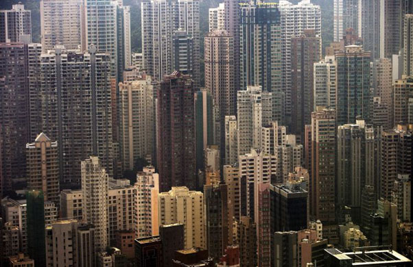 Hong Kong, China: An aerial view of residential apartment blocks