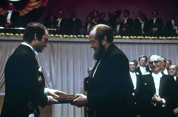 Solzhenitsyn accepting his Nobel Prize