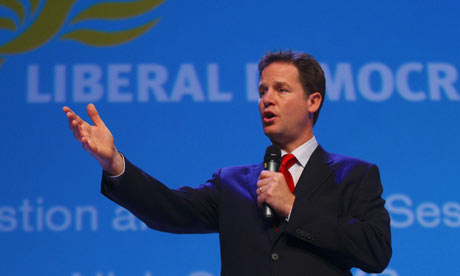 Nick Clegg during a question and answer session at the party's annual conference in Bournemouth