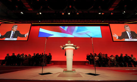 Gordon Brown addresses the party faithful at the annual Labour Party Conference