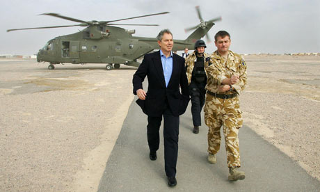Tony Blair arriving at Basra airport in Iraq