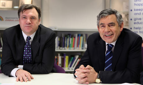 Gordon Brown and Ed Balls meet school children in Hackney