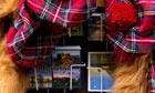 Scottish tartan hats with ginger wigs and postcards for sale. Royal Mile Edinburgh, Scotland.
