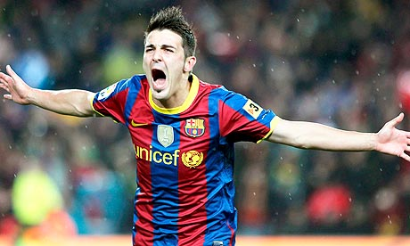 David Villa celebrates after scoring his second and Barcelona's fourth ...