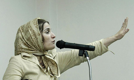 Shahla Jahed, the mistress of Iranian football star Naser Mohammadkhani, during her trial in Tehran. Photograph: Str/AFP/Getty Images
