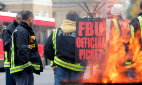 Firefighters on strike