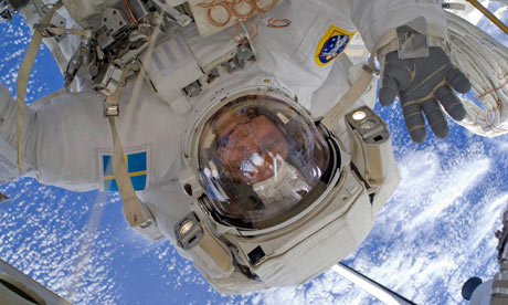 A close up view of European Space Agency Astronaut