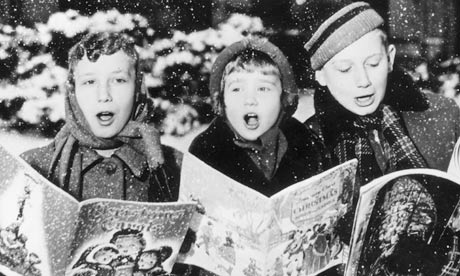 carol singers in snow