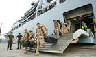 Troops disembark from HMS Albion