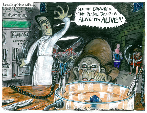 Creating New Life - See the Growth in that Petrie Dish? It's Alive! IT'S ALIVE !!! a cartoon by Martin Rowson