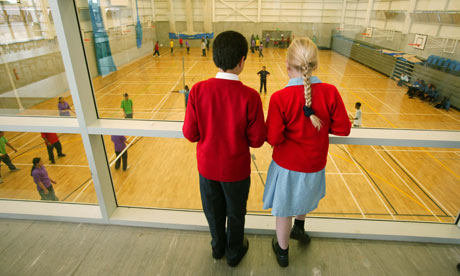 School children look at Capital City Academy sports hall