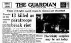 Front page of the Guardian, 30 January, 1972