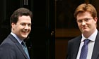 Danny Alexander stands with George Osborne