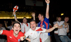 England supporters celebrate victory