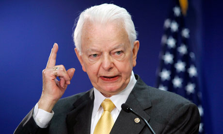 Democrat senator Robert Byrd in 2005. He was once a member of the Ku  Klux Klan.