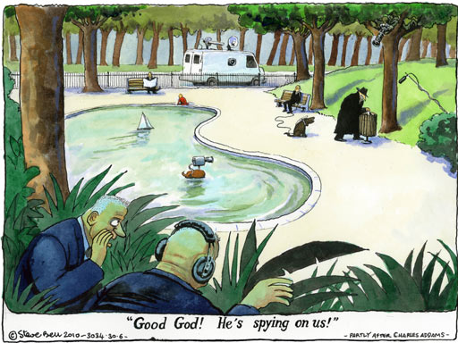 A Steve Bell cartoon on the allegations against Russian spies