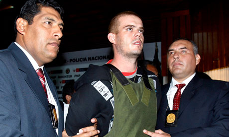 Joran Van der Sloot during a press conference at a police station in Lima, Pe