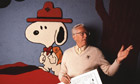 Charles Schulz with Snoopy Cartoon