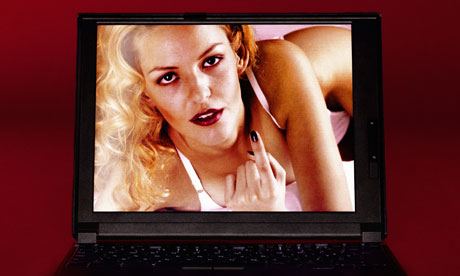 Laptop showing image of w 006 Gail Ogrady Nude