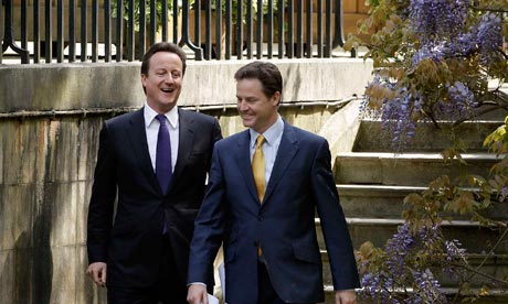 david cameron & nick clegg on their way to the rose garden