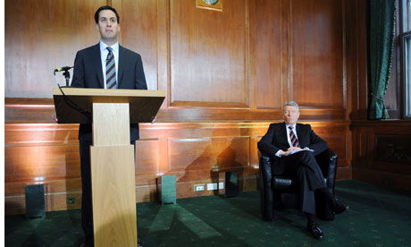 Ed Miliband and Alan Johnson at monthly press conference