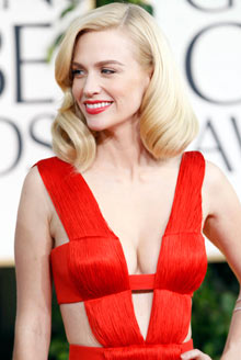 January Jones arrives at the Golden Globes