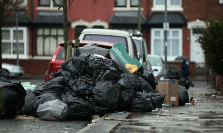 Pile of rubbish on suburban street