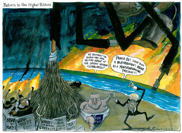 Martin Rowson on Fox News - Glenn Beck and Rupert Murdoch dance a jig of delight