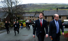Nick Clegg and Elwyn Watkins campaigning in Diggle