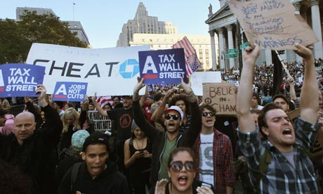 Rising anger … Occupy Wall Street protesters. Photograph: Mario Tama/Getty Images