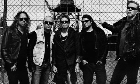 Left to right: Kirk Hammett, Lars Ulrich, Lou Reed, Rob Trujillo and James Hetfield