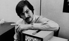 Steve Jobs poses with an Apple computer, September 1979.