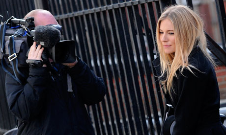 Sienna Miller leaves after giving evidence at the Leveson inquiry in London
