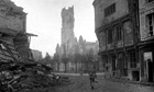 The destroyed cathedral of Péronne, Somme circa 1918.