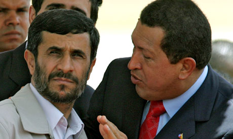Hugo Chavez talking to Mahmoud Ahmadinejad
