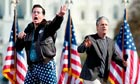 Stephen Colbert and Jon Stewart sing at the Rally to Restore Sanity and/or Fear in Washington, 2010.