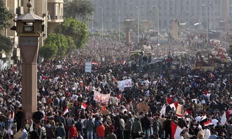 Egyptian protester in Tahrir square 2 Feb