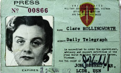 Clare Hollingworth's press card