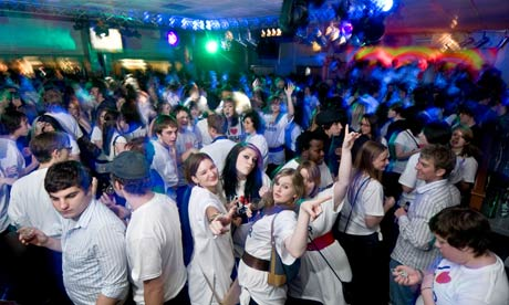 young people partying at the Aberystwyth University Students union I Love Aber party night, Wales UK