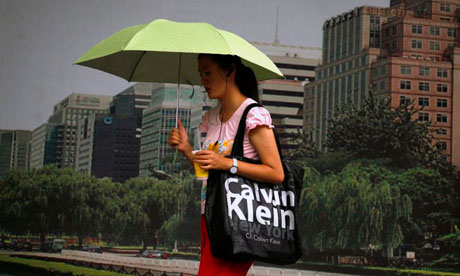 China luxury brands woman with Calvin Klein bag
