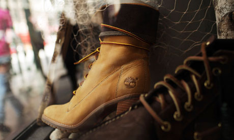Timberland boots in window