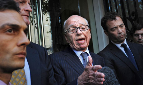 Rupert Murdoch speaks to media