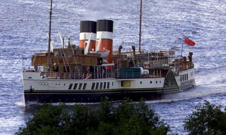 WAVERLEY PADDLE STEAMER MAKES HER WAY PAST DUMBARTON CASTLE.