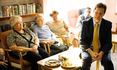 Nick Clegg at Hanover Housing Association sheltered housing in Edinburgh, April 2011.