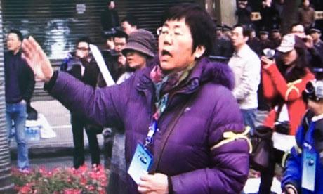 Wang Lihong at a protest
