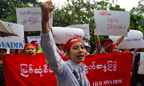 Burma protest against Myitsone dam project