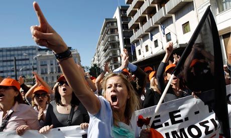 A woman at a rally in Syntagma Square, Athens