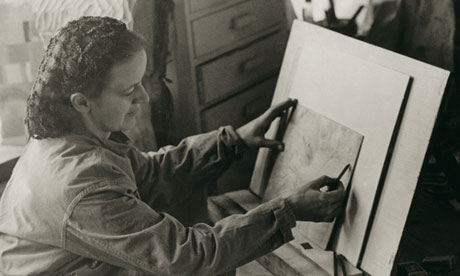 Barbara Hepworth at work on a drawing of an operating theatre, Quartet I (Arthroplasty)
