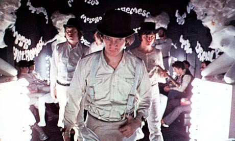 Malcolm McDowell in Stanley Kubrick's A Clockwork Orange (1971).