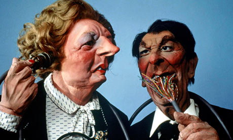 The Spitting Image puppets of Margaret Thatcher and Ronald Reagan